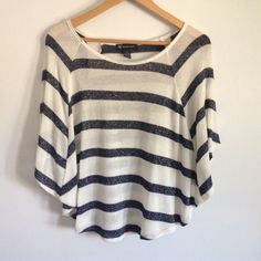 """INC White & Navy Striped Knit Top Cute striped blouse - can be dressed up or down. INC brand, size medium. Relaxed knit, great condition! Measures 22"""" long, 29"""" wide. 52% rayon, 40% polyester, 5% other, 3% spandex. INC International Concepts Tops Blouses"""