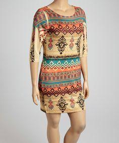 Look at this #zulilyfind! Orange Abstract Scoop Neck Dress - Plus #zulilyfinds