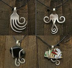 Made from old forks! wow very clever jewelry pendants