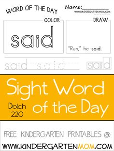 FREE Dolch 220 Sight Words: Pre Primer and Primer Daily Worksheets. Use these with a morning workbook for children learning to read.