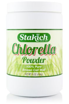 Stakich Chlorella is 100% pure with no binders, additives, or fillers. Chlorella is a subspecies of Chlorella vulgaris, a single-celled, fresh water algae that contains the highest concentration of chlorophyll known. Chlorella naturally contains protein, carbohydrates, all of the B vitamins, vitamins C and E, amino acids, and rare trace minerals.