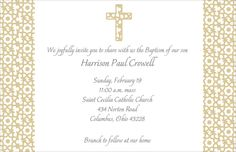 Elegant Beige Cross Invitations