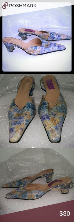 "Mary Fashion made in Italy vintage slides 42 2.5"" covered heel. Pointy toe. Floral design. Antiqued lacquered leather that looks exactly like glazed pottery. Made in Italy. Right shoe is missing a logo. Leather sole. Vintage. Mary Fashion Shoes Heels"