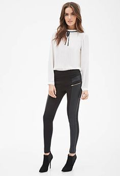 Faux Leather Paneled Leggings from Forever21 $19,90