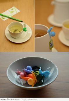 Tea bag holder snails