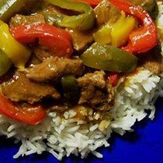 Slow Cooker Pepper Steak ~Strips of sirloin and fresh bell peppers make a tender, rich, delicious dinner...  Allrecipes.com