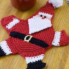 Mr. Claus Potholder Pattern | AllFreeCrochet.com Thia is actually a trivet, not a potholder....