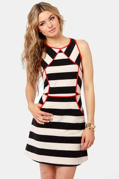 You've never seen stripes quite like the Aryn K Remember Your Lines Black and Grey Striped Dress! A network of red seams interrupt black and grey stripes. Dresses For Teens, Little Girl Dresses, Cute Dresses, Vintage Dresses, Style Feminin, Daily Dress, Muslim Fashion, Look Chic, Striped Dress