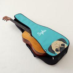 Pug Dog Potrait illustration Guitar Case - diy individual customized design unique ideas