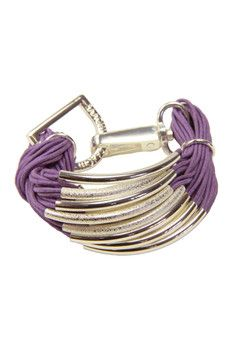 Saachi - Purple Multi-Bar String Bracelet, Silver plated tube beads and D-ring purple multi-strand string bracelet, Style # 605704.