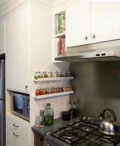 IKEA spice jars on picture ledges