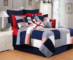 Boys Bedding - Add fashionable style to your kids or teens bedroom with designers boys bedding sets. We offer boys bedding sets in all sizes and designs Nautical Bedding, Beach Bedding, Luxury Bedding, Nautical Quilt, Nautical Theme, Quilt Bedding, Bedding Sets, Twin Comforter, Newport Pier