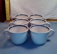 6 Classic PFALTZGRAFF Coffee Mugs Tea Cups 100 Ivory Dark and Light Blue Stripes #Pfaltzgraff