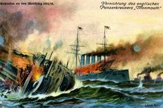 Sinking of British armoured cruiser HMS Monmouth November 1914.  Defeat by German forces at Battle of Coronel, Pacific Ocean, off Chile.
