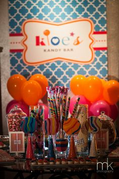 Candy bar at a brightly colored Bat Mitzvah {Photo by MK Photography}