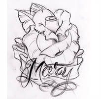 custom rose by WillemXSM on DeviantArt Rose Tattoo Stencil, Tattoo Outline Drawing, Rose Drawing Tattoo, Outline Drawings, Art Drawings, Rose Tattoo With Name, Heart Tattoos With Names, Sacred Heart Tattoos, Name Tattoo Designs