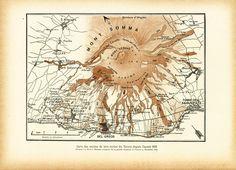 1908 Carte des coulées de Lave du Vésuve de 1631 à 1865. Planche Originale Géographie Géologie de la boutique sofrenchvintage sur Etsy