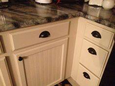 Beadboard cabinets using wallpaper.Weathered or Not: Kitchen Cabinet Makeover Tutorial Best Kitchen Cabinets, Kitchen Redo, Kitchen Remodel, Kitchen 2016, Farmhouse Remodel, Kitchen Ideas, Kitchen Upgrades, Cabinet Makeover, Apartment Kitchen