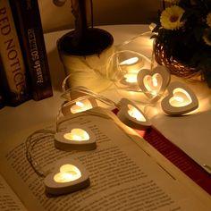 10 светодиодные теплый деревянные сердце Форма Строка Фея светильники для Новогодние товары Рождество Свадебные украшения партии День святого Валентина украшения