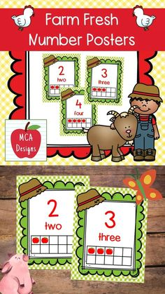 These adorable number posters are part of my Farm Fresh Classroom Decor collection. Each poster is accented with bright colors and farm graphics! This set features numbers 1-10 including corresponding ten-frames for the visual learner. #teacherspayteachers #tpt Classroom Board, 2nd Grade Classroom, Classroom Supplies, Classroom Posters, Classroom Decor, School Resources, Classroom Resources, Teaching Resources, Number Posters