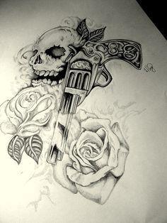 gun tattoo   Skull Gun n Roses Tattoo Design