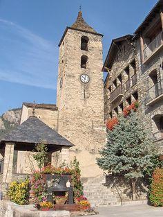 The 12th century Romanesque Sant Corneli and Sant Cebrià church and bell tower in Ordino.