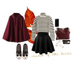 """""""Fall"""" by lauuurrenn ❤ liked on Polyvore featuring IRO, Alice + Olivia, Valentino, Casetify, skaterskirt, coat, sweaterweather, cape and fall2015"""