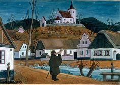 Josef Lada – Josef Lada was a Czech painter and writer. Famous for his village scenes and cartoon like figures Grandma Moses, Henri Rousseau, Naive Art, Home Art, Illustrators, Cool Pictures, Drawings, Artist, Czech Republic