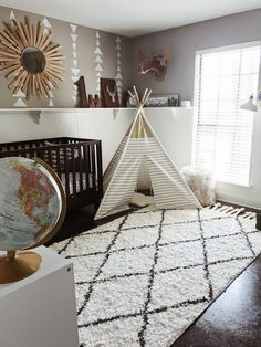 Boy Nursery Design Idea - Explorer, Adventure, Geometric, Aztec, Travel, Neutral