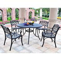 Crosley Furniture Sedona 48Inch Five Piece Cast Aluminum Outdoor Dining Set with Arm Chairs in Black Finish