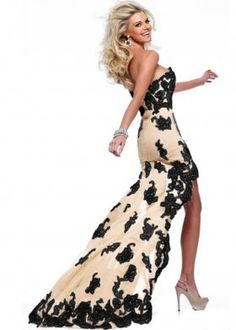 Unique Hi-lo Lace Strapless Black Mullet Dress For Prom 2014