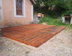 création d'une terrasse en palettes  palettes,Terrasse en bois,Fabrication avec des palettes de récupération,terrasse en palettes