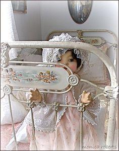 french lit de bébé (crib or cot) handpainted with cherubs ... c. 1900...Love This Crib! MG