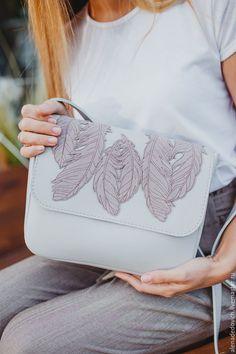Leather bag with applique | Купить Сумка - комбинированный, сумка ручной работы, сумка женская, сумка из натуральной кожи