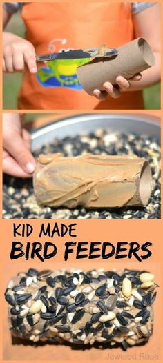 Kid made bird feeders; a fun & easy craft for Spring that uses recycables