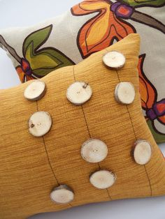 Fall Pillow with Homemade Wood Buttons