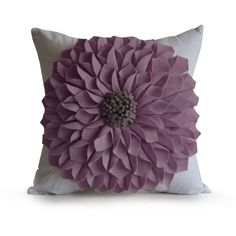 Purple Felt Flower Pillow -Dorm Pillow -Light Purple White Pillow Case... (2,270 INR) via Polyvore featuring gift