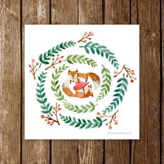 Foxes in a Wreath | Two Foxes in Love Poster | Sweet Illustration | Watercolor Art Print | Wall Decor | 8x8 | 10x10 |12x12