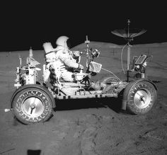 Apollo 15 astronaut Dave Scott sits in the lunar rover on the Moon, August (NASA/Marshall Space Flight Center) Apollo Space Program, Nasa Space Program, Moon Missions, Apollo Missions, Cosmos, Space Race, Air Space, Space Center, Man On The Moon