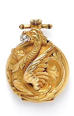 Art Nouveau 18kt Gold and Diamond Open-face Pendant Watch, France, designed as a griffin clutching an old mine-cut diamond, enclosing a stem-wind, pin-set movement, 23 mm, maker's mark and guarantee stamps.