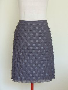 Elegant Woman Skirt Silver Gray Polka Dot Ruffled  by HanseART, $75.00