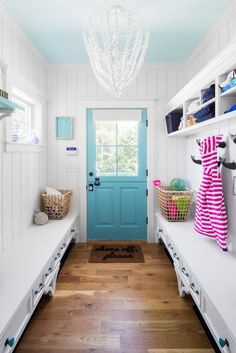 turquoise and white mudroom | GMT Home Designs