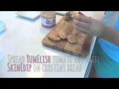 YumElish Recipes - Tomato & Basil SkinEdip Crostini