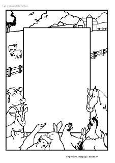 coloriage-animaux-ferme-cadre-vache-cheval-poule