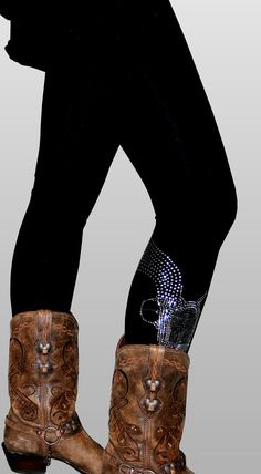 The Peacemaker Leggings, Rhinestone Boot Guns. $85.00. Really NOT worth $85.00 though... Wonder if I could make these with an appliqué...