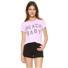 Jacks and Jokers Beach Baby Tee (96 BRL) ❤ liked on Polyvore featuring tops, t-shirts, blush, pink top, short sleeve cotton tops, cotton t shirts, beach tees and cotton tee