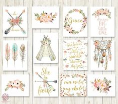 """Lot of 13 (12 pictured 1 free!) Boho Wall Art Prints She Is Fierce Nursery Baby Girl Room Set Prints Printable Bohemian Print Woodland Home Decorby Pink Forest Cafe Welcome to Pink Forest Café! Your one stop shop for all things printable! Wall Art, Stationery, Invitations and Announcements, Party Signs, Home and Nursery Décor and more! All designs are available to be printed and shipped, choose the """"Order My Prints"""" option in the menu now! These are my most popular Boho Prints - s..."""