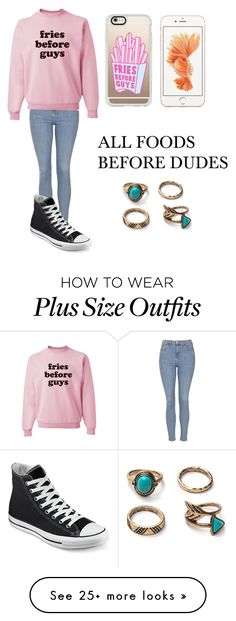 """""""who needs a guy for valentines day"""" by makieyaashirley on Polyvore featuring Topshop, Casetify and Converse"""