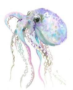 "Gray Blue Purple Octopus art, 10"" X 8"", original watercolor painting, octopus art, by ORIGINALONLY on Etsy"