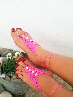 Pink  Barefoot Sandals Nude shoes Foot jewelry by ArtofAccessory, $15.00